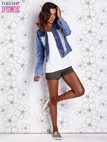 Niebieska jeansowa kurtka z koronkowymi wstawkami                                  zdj.                                  7