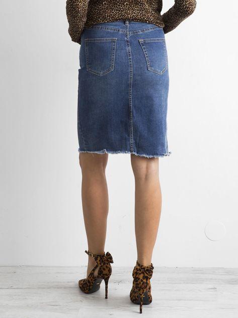 Niebieska jeansowa spódnica z rozcięciem                              zdj.                              2