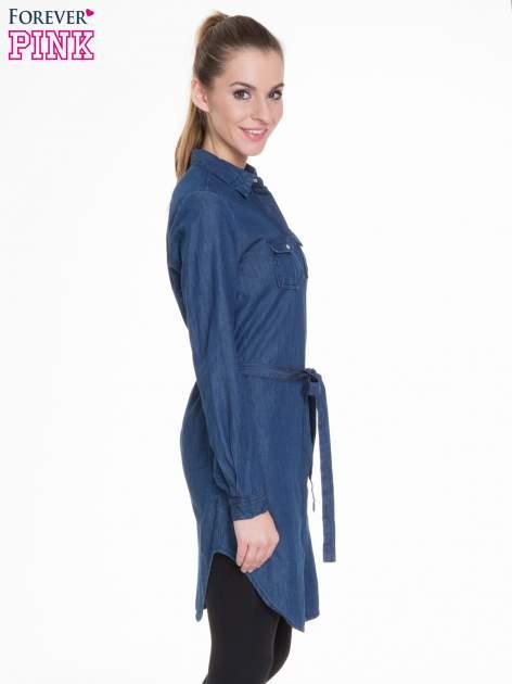 Niebieska jeansowa sukienka typu szmizjerka                                  zdj.                                  3