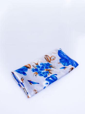 Niebieska jedwabna chusta apaszka w kwiaty                                  zdj.                                  3