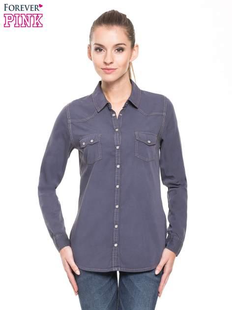 Niebieska klasyczna koszula jeansowa z długim rękawem                                  zdj.                                  1