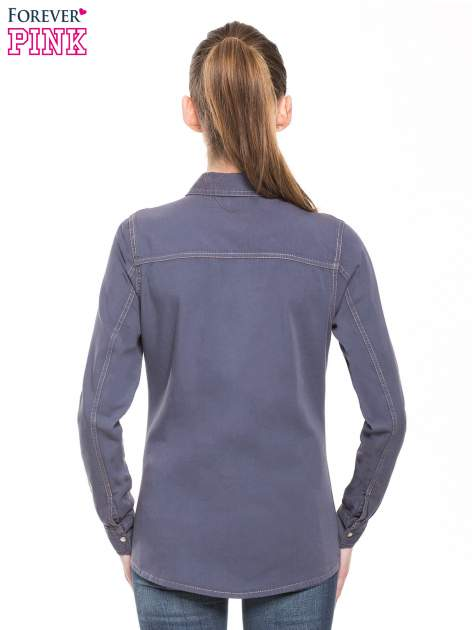 Niebieska klasyczna koszula jeansowa z długim rękawem                                  zdj.                                  3
