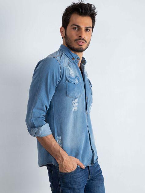 Niebieska koszula męska Jeanswear                              zdj.                              3