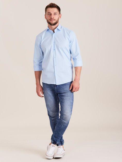Niebieska koszula męska regular                              zdj.                              4