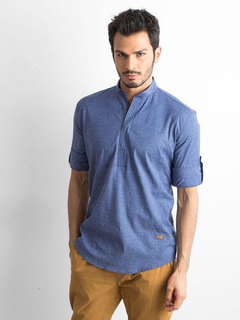 Niebieska koszula męska regular fit ze stójką                               zdj.                              1
