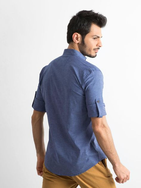 Niebieska koszula męska regular fit ze stójką                               zdj.                              2