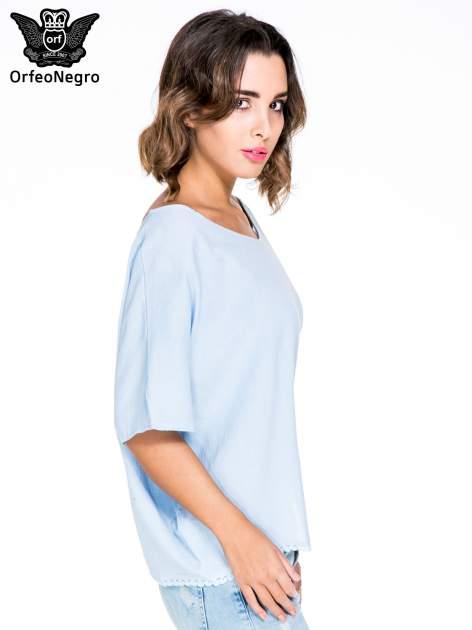 Niebieska koszula nietoperz z ażurowaniem na dole                                  zdj.                                  3