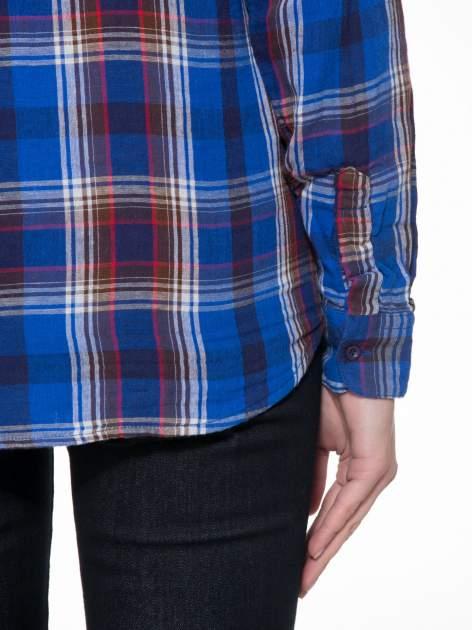Niebieska koszula w kratę z gwiazdkami przy kieszonkach                                  zdj.                                  9