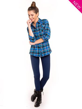 Niebieska koszula w kratę z kieszonką z przodu                                  zdj.                                  3