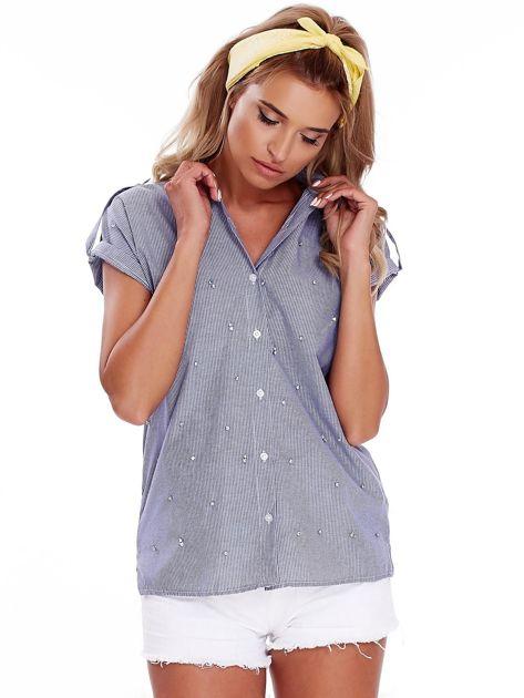 Niebieska koszula w paski z aplikacją                              zdj.                              1