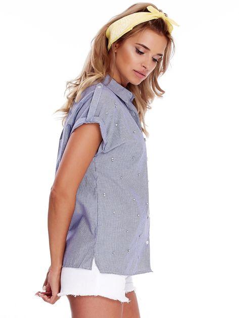 Niebieska koszula w paski z aplikacją                              zdj.                              3