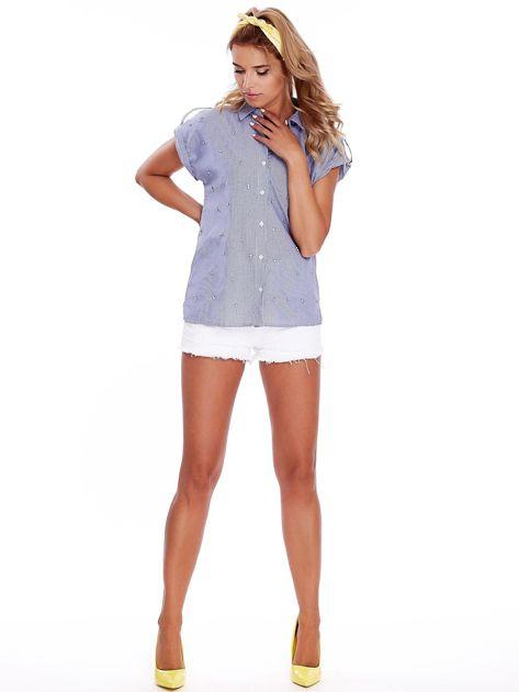 Niebieska koszula w paski z aplikacją                              zdj.                              4