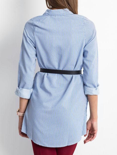 Niebieska koszula w paski z guzikami                               zdj.                              2