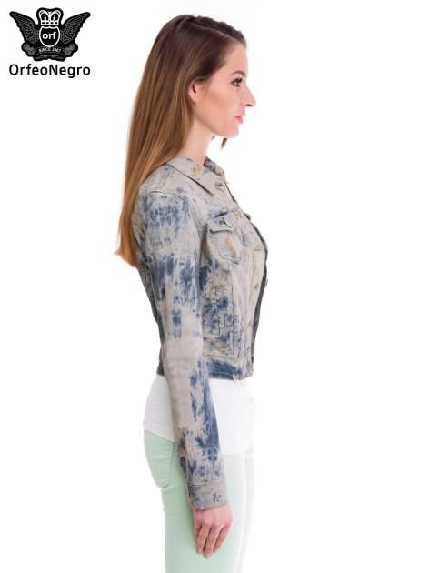 Niebieska kurtka jeansowa damska z efektem tie-dye                                  zdj.                                  3