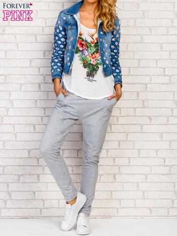 Niebieska kurtka jeansowa z koronką                                  zdj.                                  2