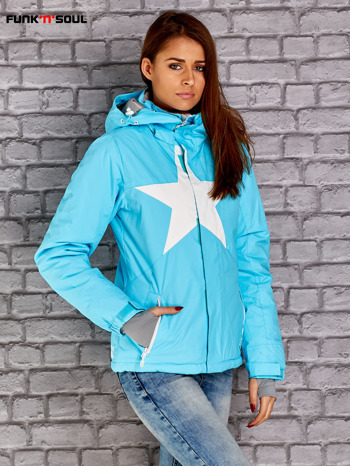 Niebieska kurtka narciarska z motywem gwiazdy FUNK N SOUL                                  zdj.                                  3