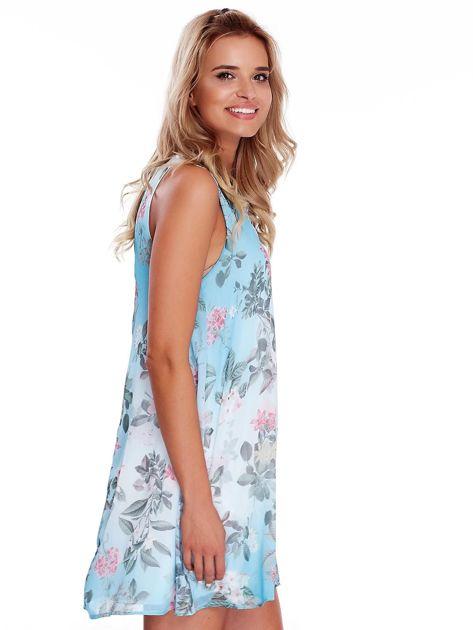 Niebieska kwiatowa sukienka                               zdj.                              3