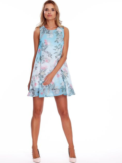 Niebieska kwiatowa sukienka                               zdj.                              4