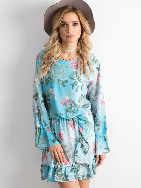 Niebieska kwiatowa sukienka z dekoltem z tyłu                              zdj.                              1