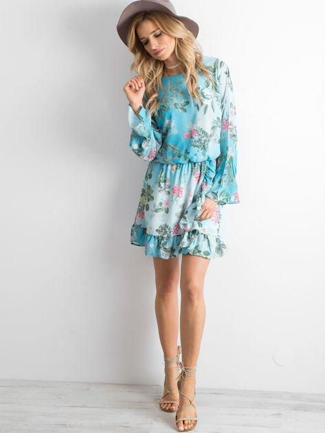 Niebieska kwiatowa sukienka z dekoltem z tyłu                              zdj.                              4