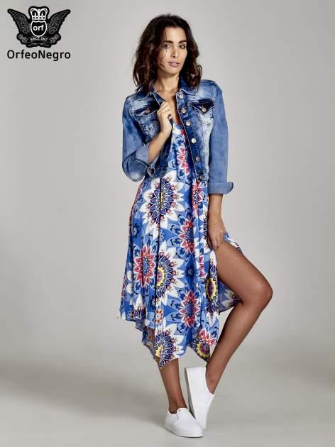 Niebieska letnia sukienka w kwiaty                                  zdj.                                  2