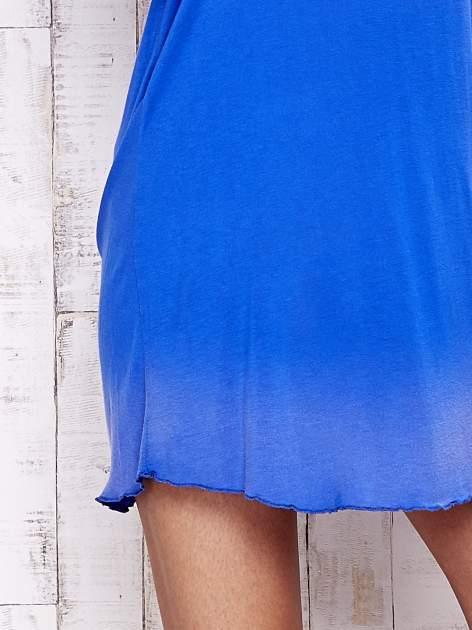 Niebieska luźna bluzka na cienkich ramiączkach Funk n Soul                                  zdj.                                  5