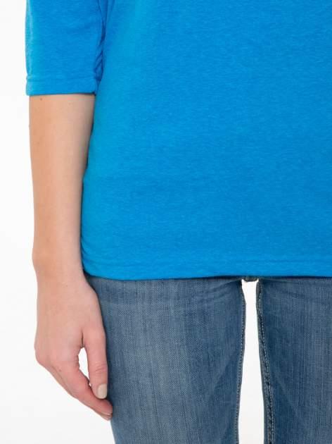 Niebieska luźna bluzka z rękawem 3/4                                  zdj.                                  6