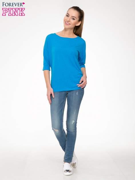 Niebieska luźna bluzka z rękawem 3/4                                  zdj.                                  2