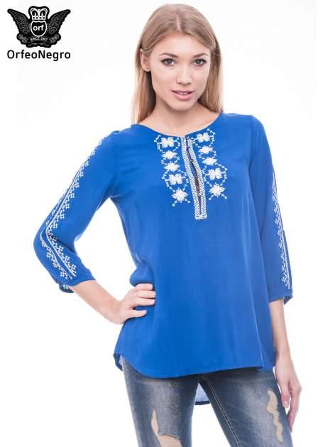 Niebieska luźna koszula z haftem