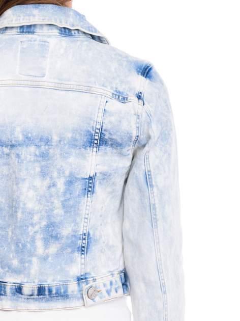 Niebieska marmurkowa kurtka jeansowa damska                                  zdj.                                  7
