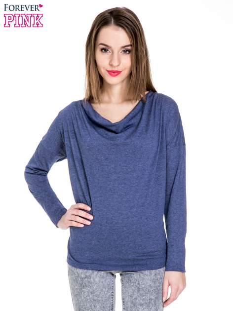 Niebieska melanżowa bawełniana bluzka z dekoltem typu woda                                  zdj.                                  1
