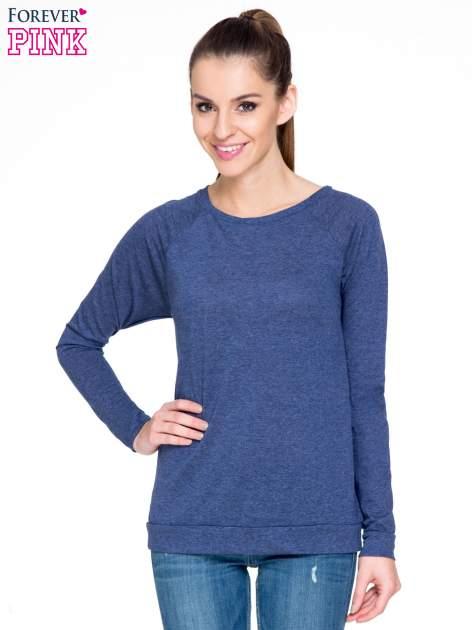 Niebieska melanżowa bawełniana bluzka z rękawami typu reglan