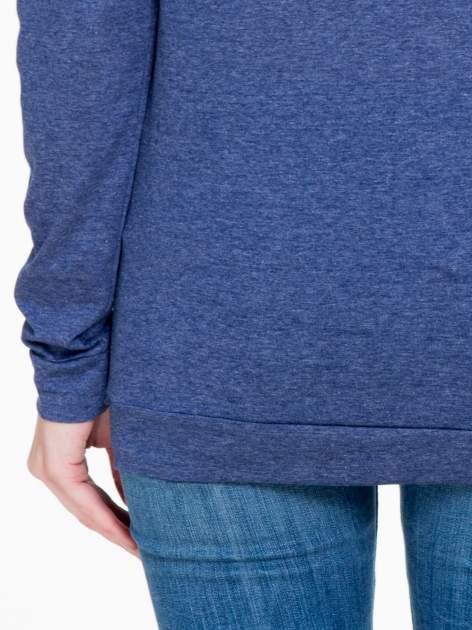 Niebieska melanżowa bawełniana bluzka z rękawami typu reglan                                  zdj.                                  8