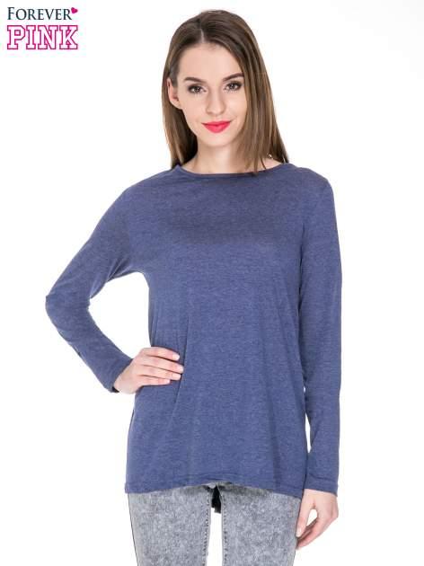 Niebieska melanżowa bluzka z dłuższym tyłem