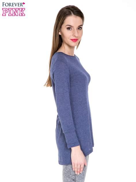 Niebieska melanżowa bluzka z dłuższym tyłem                                  zdj.                                  3