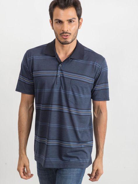 Niebieska męska koszulka polo Inky