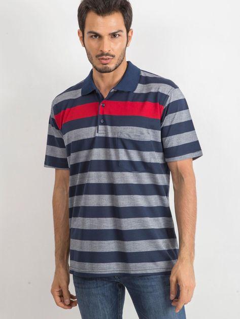 Niebieska męska koszulka polo Stampede                              zdj.                              1