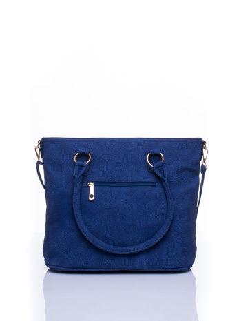 Niebieska miejska torba z ozdobnymi klamrami                                  zdj.                                  3