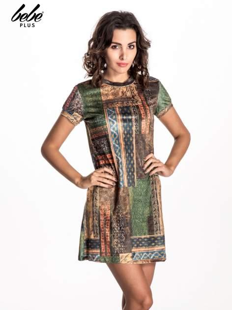 Niebieska mini sukienka w patchworkowy wzór                                  zdj.                                  1