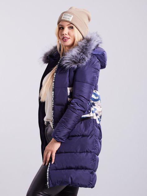 Niebieska pikowana kurtka zimowa PLUS SIZE                              zdj.                              5