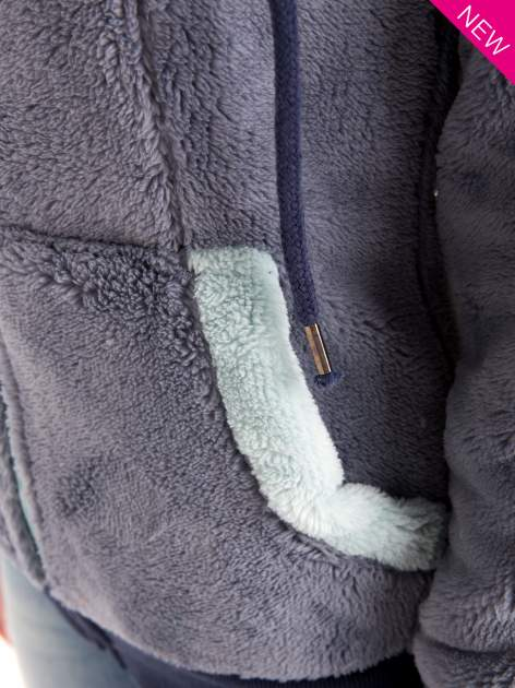 Niebieska polarowa bluza miś z kapturem z uszkami                                  zdj.                                  8