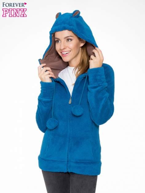 Niebieska polarowa bluza miś z kapturem z uszkami i pomponami                                  zdj.                                  6