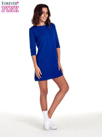 Niebieska prosta sukienka z kieszeniami                                   zdj.                                  8