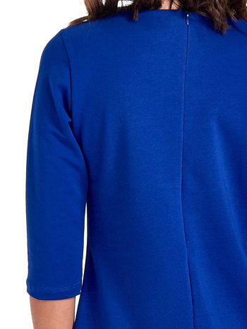 Niebieska prosta sukienka z kieszeniami                                   zdj.                                  7