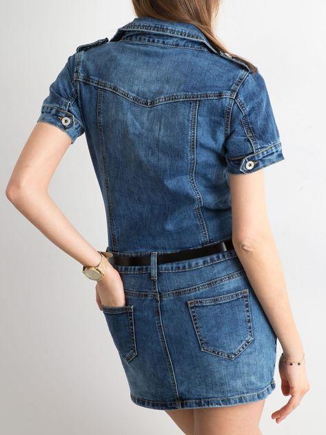 Niebieska rozpinana sukienka jeansowa                              zdj.                              2