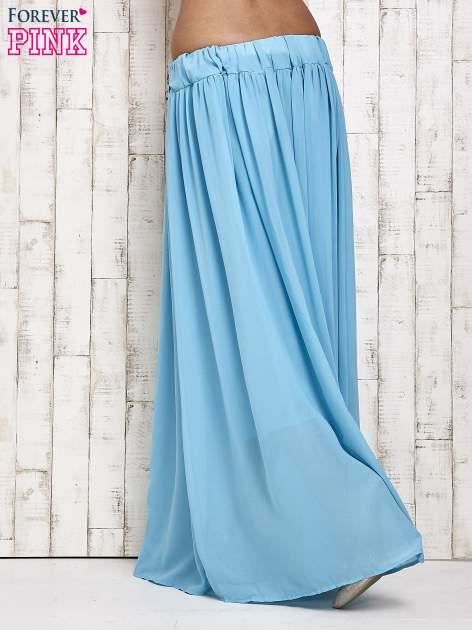 Niebieska spódnica maxi na gumkę w pasie                                  zdj.                                  3