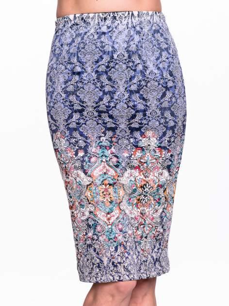 Niebieska spódnica midi w roślinny wzór                                  zdj.                                  5