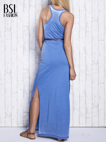 Niebieska sukienka maxi acid wash                                  zdj.                                  4