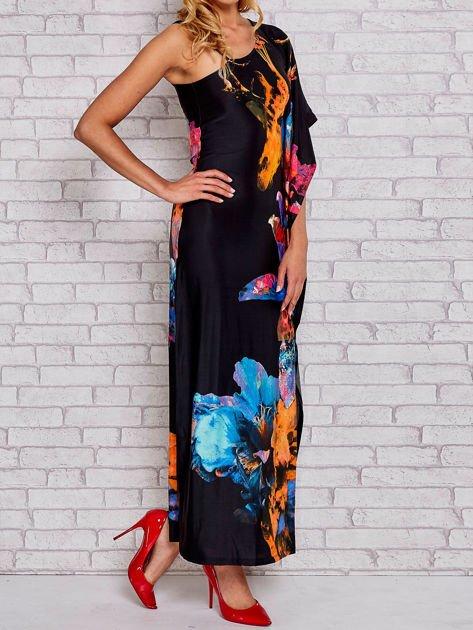 Niebieska sukienka maxi z asymetrycznym dekoltem                                  zdj.                                  3