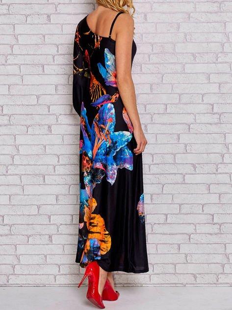 Niebieska sukienka maxi z asymetrycznym dekoltem                                  zdj.                                  5